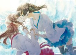 2girls akagi_(kantai_collection) blue_eyes brown_hair bubble eyes_closed floating hand_holding japanese_clothes kaga_(kantai_collection) kantai_collection kiss long_hair long_sleeves looking_at_another multiple_girls riko_(solala) side_ponytail thighhighs traditional_media underwater watercolor_(medium) yuri