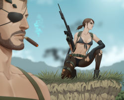 1boy 1girl bangs beard big_boss bikini bikini_under_clothes black_bikini breasts brown_hair cigar combat_boots combat_knife explosive eyepatch eyeshadow facial_hair front-tie_bikini front-tie_top gb_(doubleleaf) grenade gun holster makeup metal_gear_(series) metal_gear_solid metal_gear_solid_v mismatched_gloves one_knee pantyhose ponytail quiet_(metal_gear) rifle scar scar_across_eye shirtless smoking sniper_rifle soft_focus solo_focus stitches suspenders swimsuit swimsuit_under_clothes thigh_holster torn_clothes torn_pantyhose underboob weapon