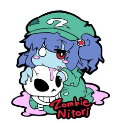 1girl blue_hair blush blush_stickers english hair_bobbles hair_ornament hat jinnouchi_akira kawashiro_nitori long_sleeves looking_at_viewer red_eyes short_hair simple_background skirt skirt_set skull solo stitches torn_clothes touhou twintails white_background zombie