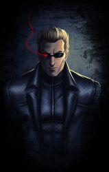 1boy albert_wesker blonde_hair checkered coat glasses highres male_focus pirate_cashoo resident_evil solo sunglasses upper_body zipper