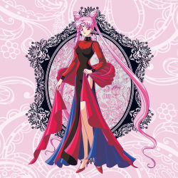 absurdres bishoujo_senshi_sailor_moon black_lady dress high_heels highres huge_filesize long_hair pink_hair red_eyes riccardo_bacci scarf twintails