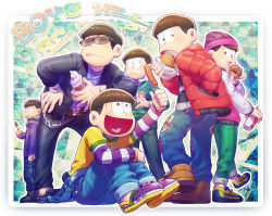 6+boys :< :3 bandanna beanie boots brothers brown_eyes brown_hair chains chocolate_banana crocs denim doughnut english food hamburger hat hot_dog ice_cream_cone jeans jewelry leather_jacket letterman_jacket male_focus matsuno_choromatsu matsuno_ichimatsu matsuno_juushimatsu matsuno_karamatsu matsuno_osomatsu matsuno_todomatsu multiple_boys necklace necktie osomatsu-kun osomatsu-san pants pink_eyes ring sextuplets shirt show_chiku-by siblings striped striped_shirt sweater_vest