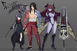 1boy 2girls abs black_gloves black_hair black_sclera boots breasts bridal_gauntlets choker demon_girl demon_horns demon_tail demon_wings elbow_gloves fearless_night fernandez_(fearless_night) gloves grey_eyes hair_ornament hair_over_one_eye height_difference hell_princess highres horns huge_weapon knee_boots large_breasts lineup long_coat long_hair low_wings mechanical_arms multiple_girls muscle navel official_art pale_skin poco_muerte pointy_ears pointy_shoes purple_hair purple_skin revealing_clothes sarashi scythe shirtless shoes skirt skull_hair_ornament spike_wible standing tail weapon wings yellow_eyes