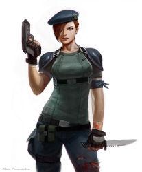 1girl alex_pascenko blood breasts brown_hair gun handgun jill_valentine knife military military_uniform pistol resident_evil shoulder_pads uniform weapon