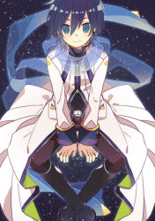 1boy aqua_eyes arm_support belt blue_hair blue_nails blue_scarf boots headset invisible_chair kaito knee_boots long_coat long_sleeves looking_at_viewer male_focus microphone nail_polish pants scarf see-through short_hair sitting solo space star_(sky) turtleneck unzipped vocaloid yoshiki zipper