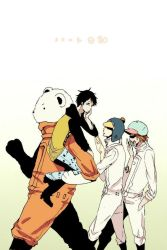 4boys bear bepo boiler_suit boots brown_hair carrying earflap_hat gradient_background hand_on_own_face hat hat_pompom hoodie jeans jumpsuit male_focus multiple_boys one_piece penguin_(one_piece) pom_pom_(clothes) raglan_sleeves shachi_(one_piece) sunglasses tattoo trafalgar_law walking yawning