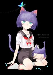 androgynous animal_ears bangs black_background blue_eyes blunt_bangs bob_cut boots butterfly cat_ears cat_tail chibi collarbone eyes_closed full_body glowing green_eyes kuroi kuroinyan looking_up multicolored_eyes neckerchief original pixiv_fantasia pixiv_fantasia_new_world purple_hair sailor_collar school_uniform serafuku short_hair short_sleeves simple_background sitting tail twitter_username watermark web_address white_legwear