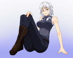 1girl alternate_costume arm_support bare_shoulders blue_background boots braid breasts denim full_body gradient gradient_background izayoi_sakuya jeans large_breasts long_legs minakami necktie pants silver_eyes silver_hair sitting sleeveless solo touhou twin_braids