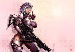1girl alpha_(acerailgun) blue_hair borrowed_character breasts cowboy_shot fingerless_gloves gloves goggles goggles_on_head gun headgear kachima large_breasts original pink_eyes rifle robot_girl shadow signature smoke smoking_gun solo standing weapon wide_hips