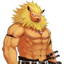 1boy abs animal_ears beardcat blue_eyes digimon digimon_tamers earrings furry highres jewelry leomon lion_ears necklace scar shirtless simple_background upper_body white_background
