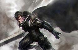 armor berserk berserker_armor black_hair cape guts huge_weapon longai pointy_hair sword weapon