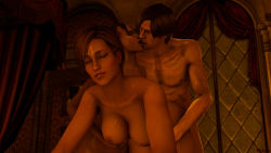 1boy 2girls 3d bed bedroom bisexual breast_grab breasts crossover dead_or_alive doggystyle ebony eyes_closed group_sex interracial kiss large_breasts leon_s_kennedy lisa_hamilton multiple_girls resident_evil sheva_alomar threesome