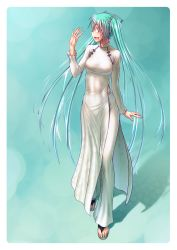 1girl abs aqua_hair breasts colored_eyelashes dress erect_nipples female hatsune_miku highres long_hair looking_to_the_side nail_polish nipples no_bra open_\m/ open_mouth sandals see-through solo taut_clothes toenail_polish toes twintails very_long_hair vietnamese_dress vocaloid waving wokada