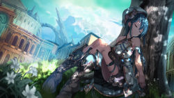 1girl bare_shoulders blue_hair boots closed_mouth collarbone eyes_closed facing_viewer highres knee_boots long_hair original saraki sitting sleeping solo tree wallpaper
