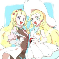 2girls :d bare_arms blonde_hair braid collared_dress dress green_eyes hat highres holding holding_poke_ball lillie_(pokemon) long_hair multiple_girls open_mouth poke_ball pokemon pokemon_(game) pokemon_sm quill shirley_fennes sleeveless sleeveless_dress smile sun_hat sundress tales_of_(series) tales_of_legendia twin_braids white_dress white_hat youme_(xz)