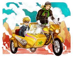 2boys blonde_hair father_and_son giorno_giovanna gloves goggles helmet jojo_no_kimyou_na_bouken magatsumagic motor_vehicle motorcycle motorcycle_helmet multiple_boys scarf sidecar vehicle