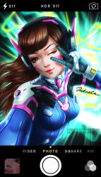 1girl animal_print artist_name bangs blue_bodysuit bodysuit breasts brown_eyes brown_hair bunny_print cellphone d.va_(overwatch) dakonta eyelashes facepaint facial_mark gloves green_background headphones high_collar light_smile long_hair looking_at_viewer nose one_eye_closed overwatch phone pilot_suit pink_lips ribbed_bodysuit self_shot shiny shiny_clothes shoulder_pads signature skin_tight small_breasts smartphone solo swept_bangs upper_body user_interface watermark web_address whisker_markings white_gloves