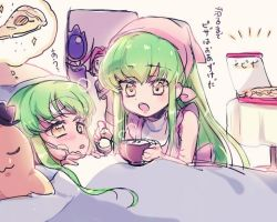 1boy 3girls bed blush c.c. cheese-kun chibi code_geass food green_hair hat lelouch_lamperouge mother_and_daughter multiple_girls pizza sick stuffed_toy yellow_eyes