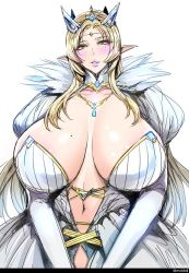 1girl blonde_hair blush breasts bursting_breasts cleavage elf fei_(maidoll) green_eyes huge_breasts long_hair mole mole_on_breast mole_under_eye open_mouth pointy_ears queen solo