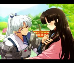 1boy 1girl armor bridge brown_hair demon_boy eyeshadow facial_mark hair_grab high_ponytail hime_cut inu_no_taishou inuyasha izayoi_(inuyasha) letterboxed light_smile looking_at_another makeup outdoors pointy_ears ponytail profile tennen_shiori tree