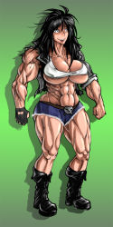 abs biceps black_hair boots breasts glove grin huge_breasts jacket long_hair muscle short_pants skull thick_thighs