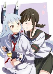 2girls bangs black_hair blunt_bangs blush commentary cowboy_shot dessert dress eating eyes_closed fingerless_gloves food fubuki_(kantai_collection) gloves grin hair_ribbon hands_clasped headgear heart holding holding_spoon hug hug_from_behind ice_cream kantai_collection long_hair long_sleeves low_ponytail multiple_girls murakumo_(kantai_collection) neck_ribbon neckerchief necktie orange_eyes pleated_skirt ponytail red_necktie remodel_(kantai_collection) ribbon sailor_dress school_uniform serafuku short_eyebrows short_ponytail short_sleeves sidelocks silver_hair skirt smile spoon tachikoma_(mousou_teikoku) teeth tress_ribbon white_hair