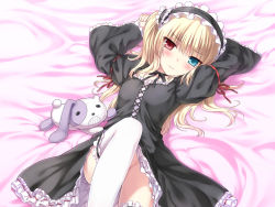 blonde_hair blue_eyes blush boku_wa_tomodachi_ga_sukunai bow duplicate gothic_lolita hairband hasegawa_kobato headdress heterochromia hiten_goane_ryu lolita_fashion lolita_hairband lying no_panties red_eyes ribbon solo stuffed_animal stuffed_toy thighhighs twintails white_legwear