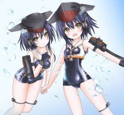 2girls asymmetrical_hair black_hair boots breasts brown_eyes catapult cowboy_shot gloves hair_between_eyes hat headphones high_heel_boots high_heels i-13_(kantai_collection) i-14_(kantai_collection) kantai_collection langley1000 multiple_girls open_mouth partly_fingerless_gloves sailor_collar school_swimsuit shirt short_hair siblings sisters swimsuit tsurime twins