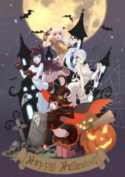 4girls animal_costume animal_ears bandage bare_shoulders bat black blake_belladonna blonde_hair blue_eyes bojue_yu_yaojing_695657 boots breasts broom broom_riding cape cat_costume cat_ears cat_paws cat_tail cleavage cross cross-laced_footwear english fingerless_gloves frankenstein's_monster frankenstein's_monster_(cosplay) full_body full_moon ghost gloves grey_eyes hair halloween halloween_costume happy_halloween hat highres jack-o'-lantern lace-up_boots medium_breasts midriff moon multiple_girls mummy mummy_(cosplay) night night_sky open_mouth pantyhose paws puffy_short_sleeves puffy_sleeves pumpkin purple_eyes ruby_rose rwby short_sleeves silk sky spider_web spire steeple stitches tail tombstone vambraces weiss_schnee white_hair witch witch_hat yang_xiao_long yellow_eyes
