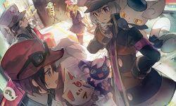 >_< 5boys ? aqua_hair black_hair black_legwear blonde_hair blue_eyes calme_(pokemon) calme_(pokemon)_(cosplay) cosplay crossdressing dress gloves hat honebami_toushirou ichigo_hitofuri kamitsure_(pokemon) kamitsure_(pokemon)_(cosplay) konnosuke kudari_(pokemon) kudari_(pokemon)_(cosplay) male_focus meowstic midare_toushirou multiple_boys namazuo_toushirou namie-kun nobori_(pokemon) nobori_(pokemon)_(cosplay) pokemon pokemon_(game) pokemon_bw pokemon_xy purple_eyes serena_(pokemon) serena_(pokemon)_(cosplay) spoken_question_mark sunglasses thighhighs touken_ranbu trap whistle white_gloves white_hair yagen_toushirou