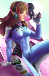 1girl animal_print aqua_background arm_support bangs blizzard_(company) bodysuit bracer breasts brown_eyes brown_hair bubble_blowing bunny_print charm_(object) chewing_gum clothes_writing d.va_(overwatch) facepaint facial_mark finger_on_trigger gloves gun handgun headphones high_collar highres holding holding_gun holding_weapon leaning_back leg_up light_smile long_hair looking_at_viewer mecha medium_breasts meka_(overwatch) nose nuryfury one_eye_closed one_leg_raised overwatch pilot_suit pink_lips pistol ribbed_bodysuit shoulder_pads sitting sitting_on_object skin_tight solo swept_bangs weapon whisker_markings white_gloves
