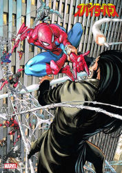 1girl battle black_hair building cityscape company_name copyright_name crossover epic fangs marvel multiple_boys murata_yuusuke official_art silk spider-man spider-man_(series) spider-woman spider_web