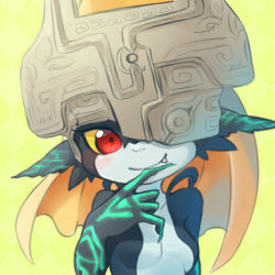 1girl blonde_hair blush breasts bust fang helmet imp long_hair midna neon_trim one_eye_covered pointy_ears red_eyes simple_background smile solo the_legend_of_zelda twilight_princess ukata yellow_background yellow_sclera