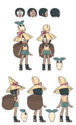 0_0 1girl bag black_hair character_sheet dark_skin ears ginseng_(indivisible) glasses hat honey_(indivisible) indivisible leaf leaf_on_head o_o plant_monster ribbon sandals shoes short_hair shorts straw_hat