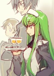 1girl 2boys alternate_costume black_dress black_hair black_ribbon brown_hair c.c. closed_mouth code_geass creayus cup dress drink drinking_glass enmaided eyebrows eyebrows_visible_through_hair from_side frown green_hair holding_tray lelouch_lamperouge liquid long_hair long_sleeves maid maid_headdress multiple_boys profile purple_eyes ribbon rolo_lamperouge sketch smile sweatdrop tray upper_body very_long_hair white_apron yellow_eyes