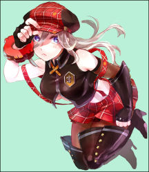 1girl :< alisa_ilinichina_amiella blonde_hair blue_eyes boots breasts cabbie_hat fingerless_gloves gloves god_eater hat midriff pantyhose solo suspender_skirt thigh_boots thighhighs underboob