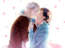 2boys artist_name black_hair blush brown_eyes dated dorris eyes_closed from_side hand_on_another's_face highres hood hoodie incipient_kiss katsuki_yuuri male_focus multiple_boys petals profile signature silver_hair viktor_nikiforov yaoi yuri!!!_on_ice