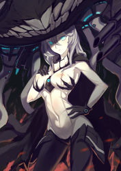 1girl :o absurdres between_breasts black_cape black_gloves blue_eyes bodysuit breasts cannon cape contrapposto covered_navel cowboy_shot erect_nipples gloves hair_between_eyes hand_on_breast hand_on_hip hand_on_own_chest headgear highres kantai_collection legs_apart lihaojie long_hair looking_at_viewer machinery medium_breasts monster open_mouth pale_skin shinkaisei-kan silver_hair skin_tight solo tentacle turret wo-class_aircraft_carrier