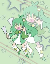 1girl alternate_costume blush_stickers cape copyright_request frog frog_hair_ornament gohei green_eyes green_hair hair_ornament heart highres kochiya_sanae long_hair open_mouth parody smile snake snake_hair_ornament solo sparkle sparkle_eyes star style_parody style_request touhou v ziogon zoom_layer
