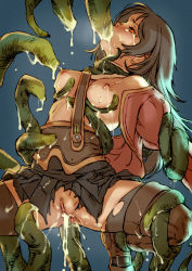 1girl branch_(blackrabbits) breasts tears tentacle
