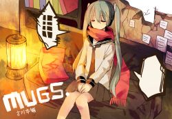 1girl copyright_name couch eyes_closed green_hair hakui hatsune_miku lantern long_hair necktie scarf school_uniform serafuku sitting skirt solo twintails very_long_hair vocaloid