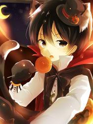 1boy animal_ears black_eyes black_hair candy cape cat_ears gloves halloween hat highres jack-o'-lantern kirito lollipop mini_top_hat paw_gloves shisokonbu short_hair sword_art_online tail top_hat