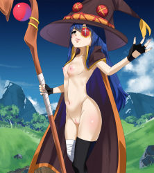 1girl areolae bandage blue_hair blush breasts cape erect_nipples fingerless_gloves grass half-closed_eyes highres hips kono_subarashii_sekai_ni_shukufuku_wo! lips long_hair looking_at_viewer megumin megumin_(cosplay) mountain navel nipples outside parted_lips pink_lips pussy single_thighhigh sky small_breasts smile solo staff uncensord wendy_marvell witch_hat