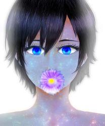 1girl black_hair blue_eyes chiruri flower highres kingdom_hearts kingdom_hearts_358/2_days short_hair solo xion_(kingdom_hearts)