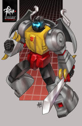 2013 autobot claws dated deviantart_username franciscoetchart glowing grimlock insignia mecha robot science_fiction signature sword transformers weapon