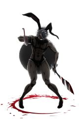 1boy abs absurdres animal_ears backlighting black_bow black_bowtie black_sclera blood blood_splatter bloody_weapon bow bowtie bunny_boy bunny_ears bunny_tail dark_skin dark_skinned_male detached_collar dual_wielding evil_smile fake_animal_ears full_body fur_trim grin hair_over_one_eye high_heels highres holding holding_sword holding_weapon juuni_taisen looking_at_viewer male_focus muscle official_art pigeon-toed pointing pointing_at_viewer red_eyes scimitar sharp_teeth short_shorts shorts smile solo standing suspender_shorts suspenders sword tail teeth transparent_background usagi_(juuni_taisen) weapon white_hair wrist_cuffs