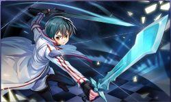 1boy black_eyes black_hair fingerless_gloves gloves kirito liang_xing pose short_hair smile solo sword sword_art_online weapon