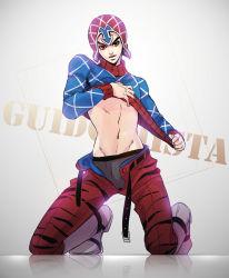 1boy guido_mista hat igawa jojo_no_kimyou_na_bouken looking_at_viewer male midriff solo unbuckled_belt