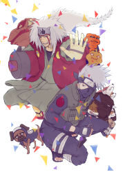 2boys akino_(naruto) artist_request bandage bisuke_(naruto) bull_(naruto) dog facial_mark fangs fingerless_gloves fishnets flak_jacket forehead_protector frog gamabunta gamakichi gamatatsu gloves guruko hatake_kakashi headband jiraiya kunai long_hair male mask multiple_boys naruto ninja pack_of_dogs pakkun piercing sandals scroll shiba_(naruto) short_hair tongue uhei urushi_(naruto) white_hair