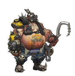 1boy artist_request chains english fat fingerless_gloves full_body gas_mask gloves highres huge_filesize male_focus official_art overwatch roadhog_(overwatch) shirtless simple_background single_glove skull spikes standing tattoo tire transparent_background weapon white_hair